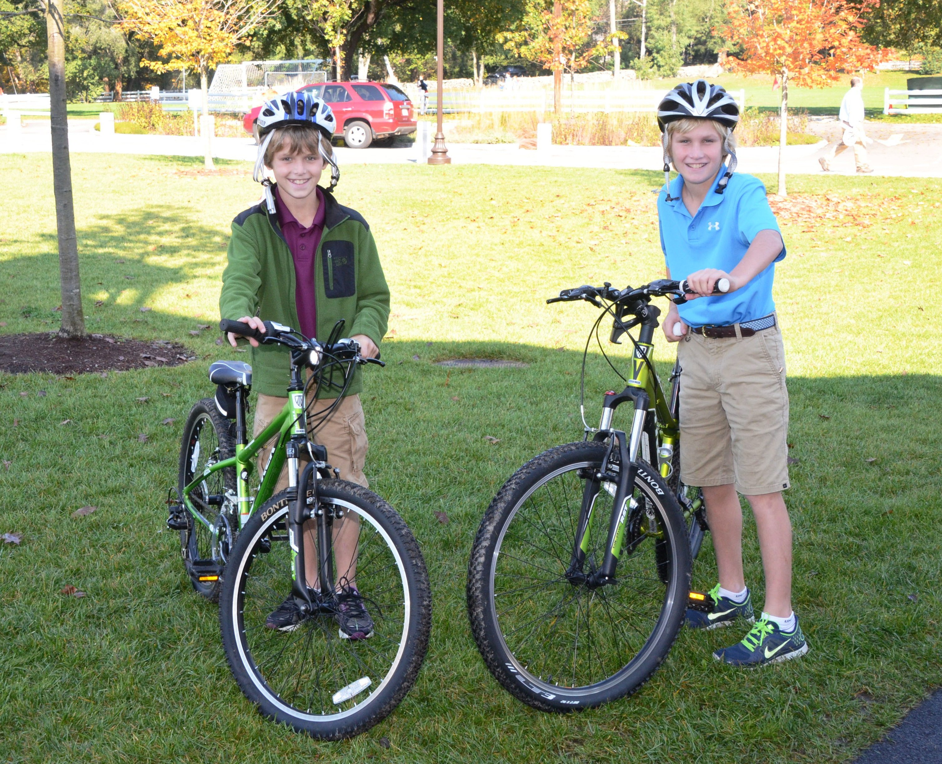Fenn students standing with bicycles